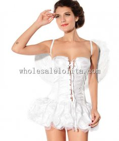 Pure White Sleeveless Sexy Angel Mini Dress Costume