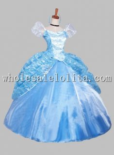 High End Blue Disney Princess Cinderlla Costume Ball Gown Dress