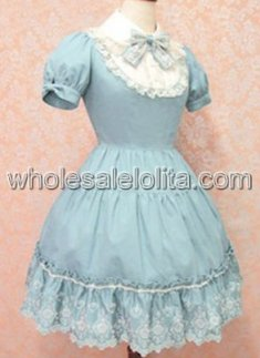 Fashionable Blue Short Sleeves Sweet Lolita Dress