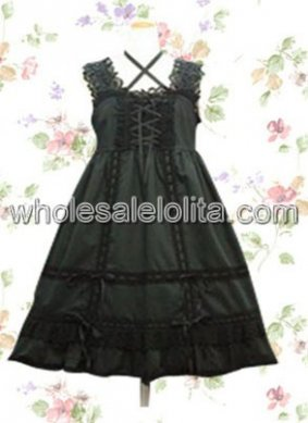 Black Lace Bandage Cotton Classic Lolita Dress