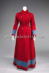Late 19th Century Wool Red Victorian Bustle Dressing Gown