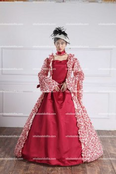 Georgian Red Victorian Gothic Period Dress Romance Gown