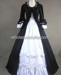 Gothic Black and White Colonial Period Dress Ball Gown Reenactment Theatre Clothing