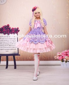 New Light Purple And Pink Cotton Bandage Ruffle Bow Sweet Lolita Dress