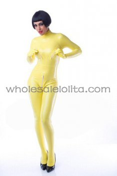 Female Yellow Back Zipper Latex Metrix Catsuit