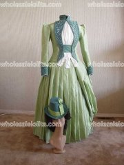 Mina Harkers Green Satin Beading Walking Gown from Bram Stokers Dracula Victorian Bustle Dress/Party Dress