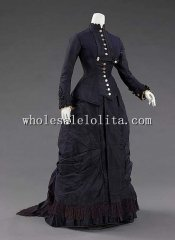 1877 Natural Form Black Silk Victorian Era Bustle Dress