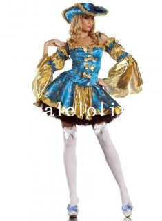Deluxe Blue and Yellow Pirate Queen Halloween Costume