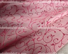 Retro Pink Flower Branch Jacquard Fabric