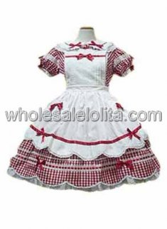 White And Red Short Sleeves Sweet Lolita Dress