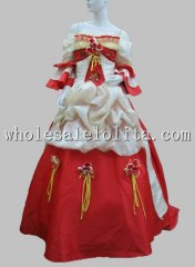 Luxury Red Baroque Big Trailing European Court Period Dress Halloween Costume
