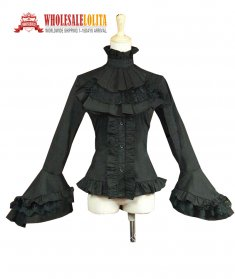 Victorian Edwardian Gothic Penny Dreadful Women Black Royal Ruffle Jabot Blouse Top Shirt Steampunk Clothing