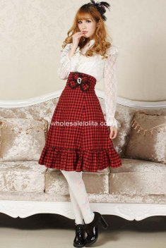 Angelic Sexy Plaid Goth Punk Lolita School-girl Red and Black Club Cosplay