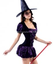 Lovely Dark Purple Adult Witch Halloween Costume Masquerade Party Dress