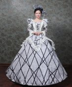 French Victorian Dress Satin Period Dress Ball Gown Party Dress