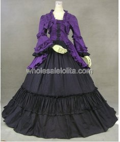 Historical Black and Purple Victorian Inspired Dress Renaissance Faire Costume
