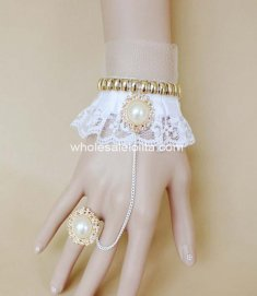 Elegant White Lace Pearl Golden Bride Bracelet & Ring