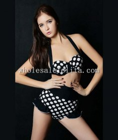 Fashion Black and White Polka Dot Halter Bikini Top & High Waist Bottom