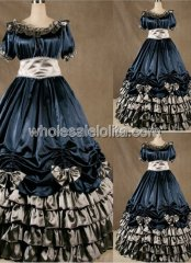 Gothic Navy Blue Civil War Southern Belle Dance Ball Gown Halloween Cosplay Dress