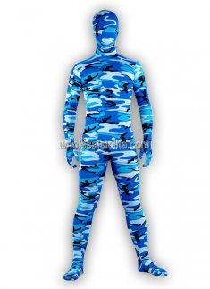 Cool Lycra Spandex Ocean Blue Camouflage Zentai Suits