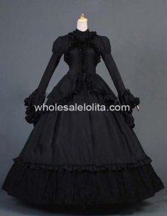 Black Gothic Victorian Maiden Ruffled Ball Gown Reenactment Period Costume Dress