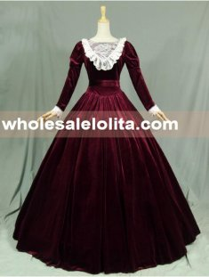 Velvet Long Sleeves Lace Victorian Dress