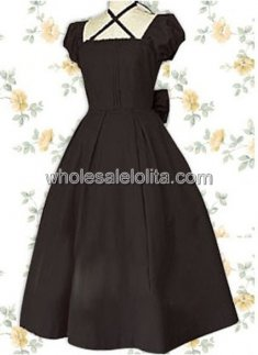 Black Bow Puff Sleeves Classic Lolita Dress