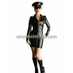 Black Front Zipper Naval Uniform Latex Catsuit
