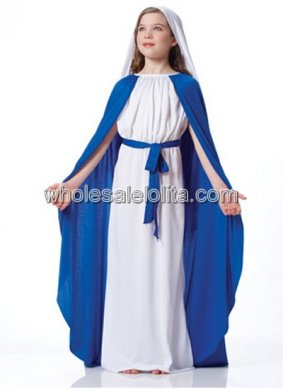 Blue and White Mary Christmas Costume for Kids
