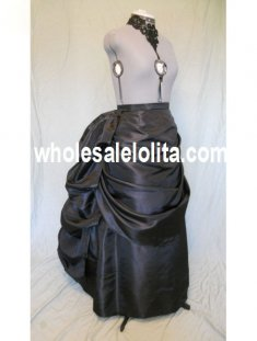 Black Satin Victorian Bustle Skirt