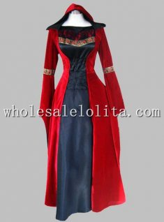 Gothic Black and Red Velvet & Silk-like Historical Euro Court Dress Witch Costume