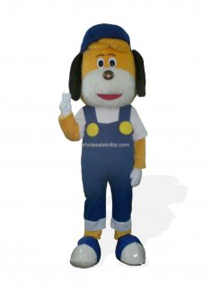 Cute Blue Dog Mascot Costume In Hat