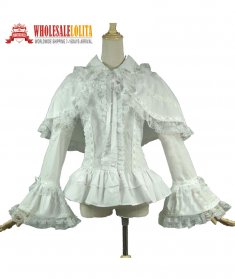 Victorian Gothic White Cotton Romantic Lace Ruffle Blouse Shirt with Cape Ghost Theatrical
