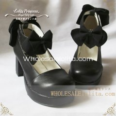 Gothic Black Sweet Bows 6cm Chunky Heel Round Toe Spring Lolita Shoes