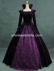 Luxury Dark Purple Victorian Queen Collared Period Dress Ball Gown Reenactment Theatre Costume