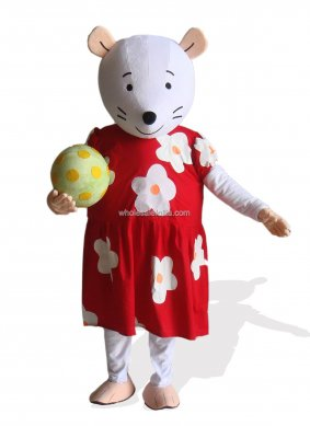 Mouse In Red And White Floral Dress With Mascot Costume