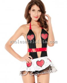 Hot Queen of Hearts Backless Low Cut Halter Skirt