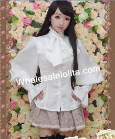 White Satin Chiffon Puff Long Sleeves Ruffled Bow Lolita Blouse