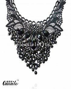 Black Fashion Bead Pendant Gem Lace Necklace