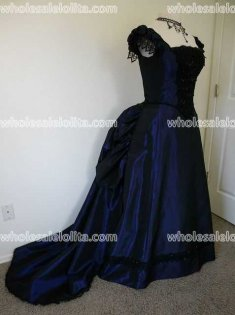 Victorian Bustled Style Dark Blue Satin Ball Gown