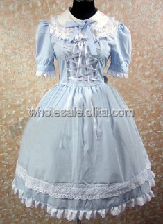 new Top Trend Sky Blue Sweet Lolita Dress with Short Sleeves