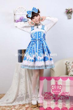 Japanese Sleeveless Print Blue Cotton Lolita Dress JSK Dress