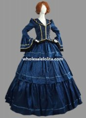 Historical Royal Blue Brocade & Cotton Civil War Victorian Ball Gown Period Dress