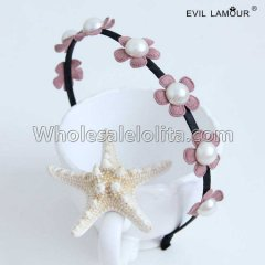 Handwork Pearl Lace Flowers Headband Masquerade Accessories