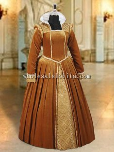 Custom Made Tudor Style Renaissance or Medieval Dress Handmade from Velvet and Brocade
