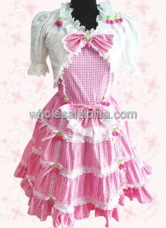 Pink and White Checked Half Sleeves Cotton Sweet Lolita Dress
