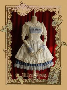 ALL-match White Cotton Cute Alice Overskirt Apron