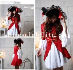 Halloween Costume White and Red Womens Pirate Costume Party Dress