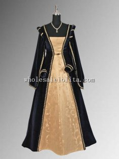 Renaissance Velvet and Brocade Dark Blue and Gold Dress