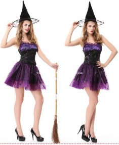 2014 Halloween Witch Cosplay Sexy Costume Party Dress with Hat